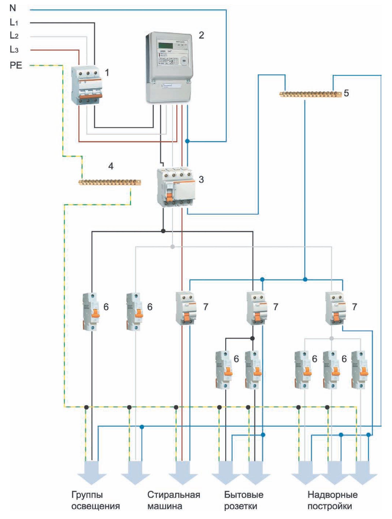 схема подключения от столба к дому