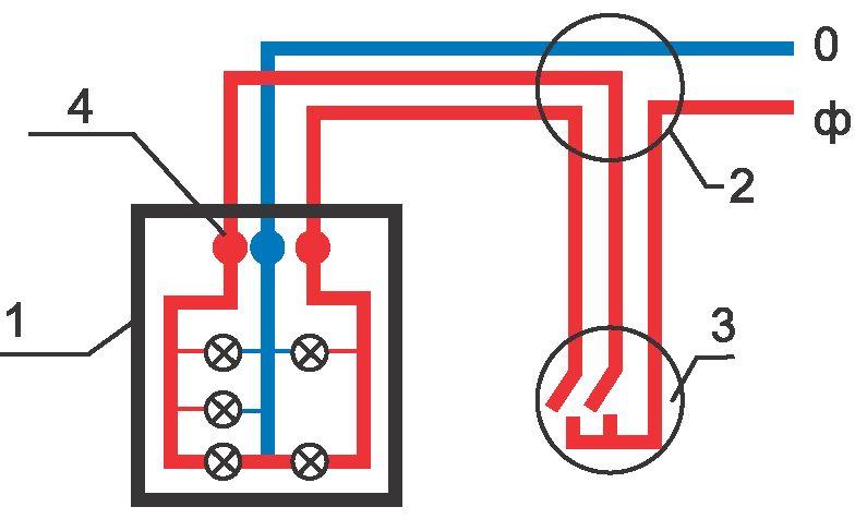 Схема подключения люстры с 5