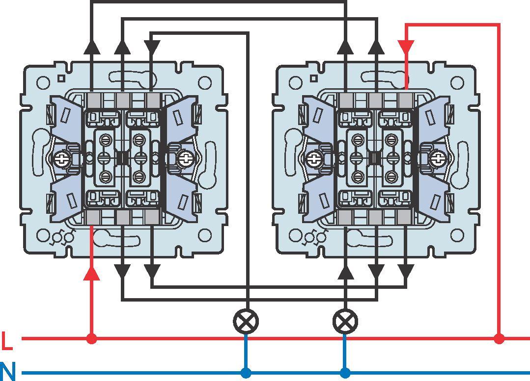 схема подсоединения проводов к выключателю
